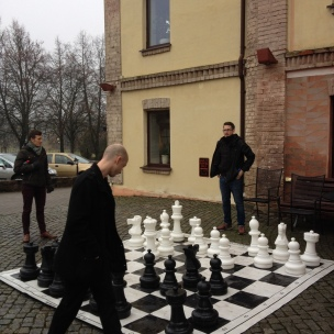 A brief moment for giant chess outside the hotel