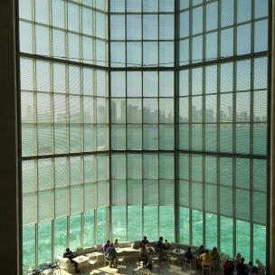 Doha skyline over the cafe