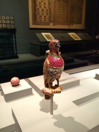 Bird made entirely from gold, ruby, sapphire, emerald, jade and ivory