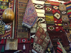Hand-woven rugs from floor to ceiling