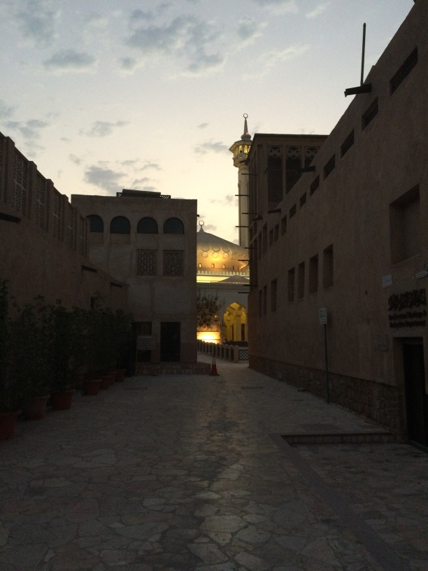 Dusk in Al Fahidi, with a view of the mosque