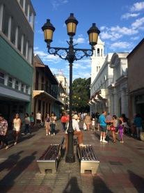 Walking towards the Parque Colon via a shopping street or two