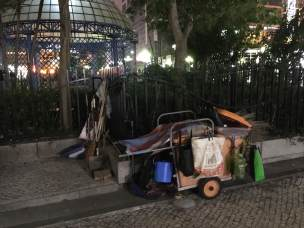 Abandoned cleaning equipment can be found on every corner in Macau and in mainland China; made all the more mysterious by the lack of cleaners to be found near it.