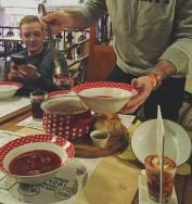 The ceremonial serving of the borscht