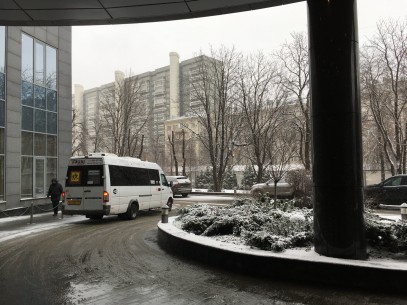A sprinkling of snow outside the hotel to get things started